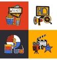 Cinema design concept flat icons set vector image vector image