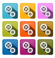 Cogs - Gears Colorful Icons Isolated on White vector image