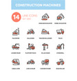 construction machines - line design icons set vector image