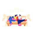 couple relaxing together at home sitting on sofa vector image vector image