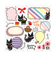 cute black kitty doodle vector image vector image