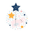 cute bunny sleeping in balloons stars design vector image vector image
