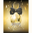 easter gala golden egg with bunny bow vector image vector image