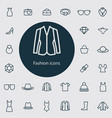 fashion outline thin flat digital icon set vector image