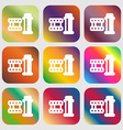 film Icon sign Nine buttons with bright gradients vector image vector image