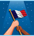 france national flag on hand symbol vector image vector image