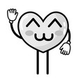 grayscale kawaii cute happy heart with arms and vector image vector image