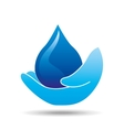hand holding drop water icon vector image