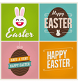 Happy easter cards with easter eggs and bunny vector image