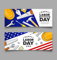 happy labor day construction tools banners vector image vector image