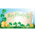 Happy St Patricks Day Old scroll Shamrock vector image