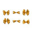 holiday satin gift bow knot ribbon golden vector image