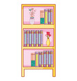 home bookshelf cartoon vector image