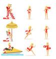 lifeguard woman character doing his job water vector image