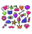 Love fashion signs comic drawing patches vector image