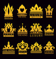 luxury royal brand emblem with gold crowns set vector image