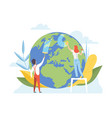 man and woman cleaning earth planet vector image vector image