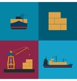 Maritime freight shipping icon set vector image vector image
