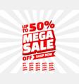 mega sale off banner set collection color red vector image vector image