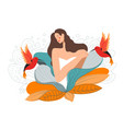 mother nature feminine woman flowers and bird vector image vector image