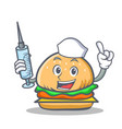 nurse burger character fast food vector image vector image