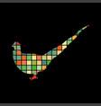 pheasant bird mosaic color silhouette animal vector image vector image