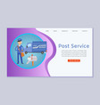 post service letters and parcels delivery web vector image vector image