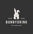 rabbit bunny drink hipster vintage logo icon vector image vector image