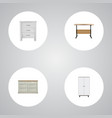 realistic cupboard wardrobe commode and other vector image