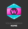 realistic letter w logo in colorful hexagonal vector image vector image