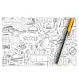 restaurant and cafe elements doodle set vector image vector image