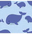 Seamless pattern with cute cartoon whales on blue vector image vector image