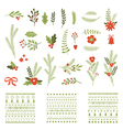 set christmas graphic elements and ornaments vector image vector image