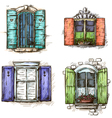 set vintage windows hand drawn vector image vector image