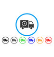 shipment schedule van rounded icon vector image