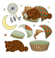 sleeping bear set vector image vector image