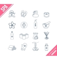Spa and healthcare outline icons set vector image