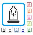 sperm in condom framed icon vector image vector image
