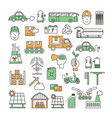 thin line art ecological factory icon set vector image