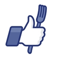 Thumbs Up symbol icon with fork vector image vector image