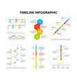 Timeline infographics design set with flat style