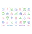Trendy gradient Christmas icons set Winter vector image