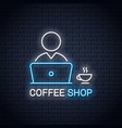 user with laptop neon banner pc user with coffee vector image vector image