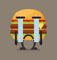 burger character crying vector image