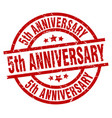 5th anniversary round red grunge stamp vector image vector image