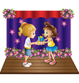 A girl giving gifts to her friend vector image