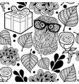 black and white pattern with owl and gifts vector image vector image