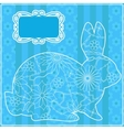 Blue background with rabbit vector image vector image