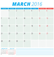 Calendar 2016 flat design template March Week vector image vector image