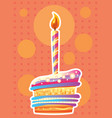 card with birthday cake and candles vector image vector image